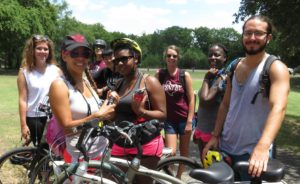 Riann (in the middle, with bike helmet) with the Lizard Lab on our summer biking adventure!